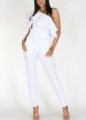 Ruffled Asymmetric One Shoulder Jumpsuit with Banded Waist and Pockets.