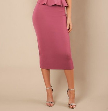 High waist bandage midi length pencil skirt in Marsala