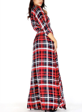 Long sleeve duster dress with front buttons, belt, pockets and split in red, black & white plaid.