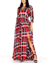 Hey Long sleeve duster dress with front buttons, belt, pockets and split in red, black & white plaid.