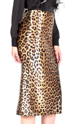 Leopard print midi skirt with banded Waist, back split and hidden back zipper