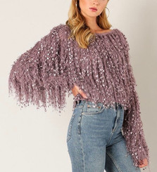 Shaggy Box Cropped Sweater with Crystal Embellishments
