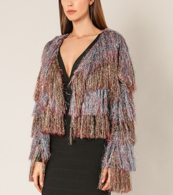 Multicolored Shimmery Jacket with Shaggy Layers and Box Crop waistline