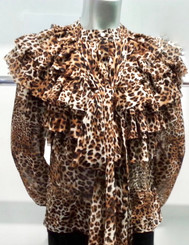 Long sleeve leopard print button down blouse with layered ruffles, exaggerated neck tie and tailored waistline