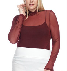 Mesh Mock Neck Long Sleeve Bodysuit in Black or Burgundy.
