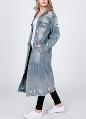 Distressed Denim Trench Jacket with Pockets