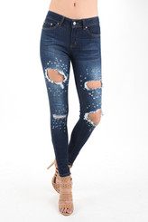 High Waist Supa Stretch Destroyed 5 Pocket Jeans  (Sizes: Small 7, Medium 9, Large 11, XLarge 13, XXLarge 15)