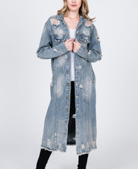 Distressed Denim Trench Jacket in Plus Size