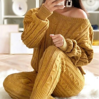 Cable Knit Sweater Set with Box Crop Top and High Waist Drawstring Pants in Mustard.