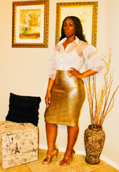 Gold Metallic Midi Stretch Skirt