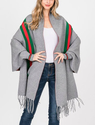 Designer Inspired Sweater Poncho with Sleeves and Fringe in Gray or Black