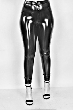 High Waisted Vinyl Pants with Front Button/Zip Closure and Super Stretch