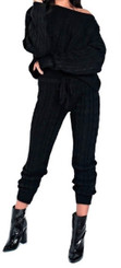 Cable Knit Sweater Set with Box Crop Top and High Waist Drawstring Pants in Black