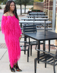 Oversized Asymmetric Shaggy Sweater Dress in Magenta and Rust