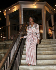 Brown and Winter White Satin Wide Leg Pant Set with Belt and Pockets