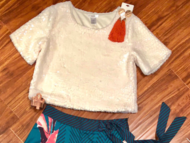 Speckeld Leather and Fur, Box Cropped Top in Winter White