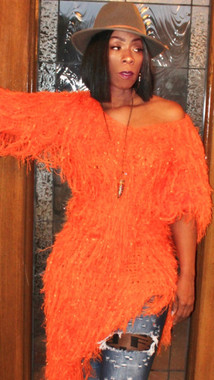 Oversized Asymmetric Shaggy Sweater Dress in Tangerine