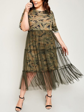 Camouflage T-shirt Dress with Tulle Midi Skirting in Olive in Curvy Size
