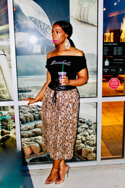 Pleated Snake Printed Midi Skirt with Black Banded Waistline