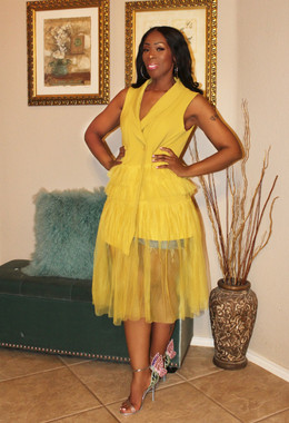 Double-breast Buttoned Vest with Layered Tulle Skirting in Honey Mustard.