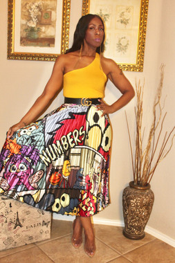Pleated Tea Length Skirt Printed with Big Elmo and Characters. Has a Banded Stretch Waist. Fits upto Size Extra Large.