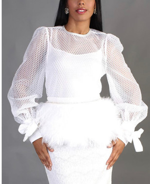 White Netted Lace Blouse with Embellished Neckline and Wrist Ties.