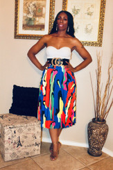 A-line Pleated Midi Skirt with invisible zipper, in a multi-colored paint style print.