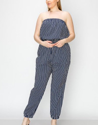 Navy and White Striped Strapless Jumper with midsection drawstring and gathered ankle band. (Curvy Size Only)