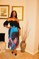 Pleated A-line Midi Skirt printed in multi-colors of African American Girl with Curly Afro and Graphics