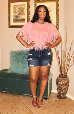 Short Sleeve Knit Fringe Boxed Crop Top in Blush