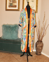 Floral Cardigan trimmed in a Satin Apricot Lapel with Striped Navy, Apricot and White banded arms (Curvy Size)
