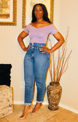 Off the Shoulder Ruched V-Neck Tee in Lavender