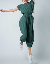 Harim Jumpsuit with Drawstring Belt, Pockets, Back Button Detail and Backless in Dark Olive or Rust