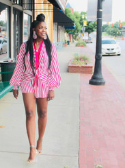 Satin Short Set with a Blousy Top, Mock Waist Tie, Tapered Puffy Long Sleeves and Pleated Flare Shorts in Pink/White Stripe.