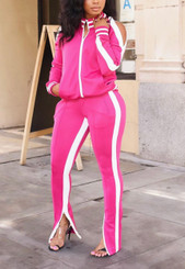 Cold Shoulder Zip Front Jacket and Joggers with Functional Zippers in Pink with White Trim.