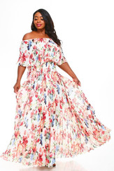 Multicolored Floral Print and Ecru Off the Shoulder Overlay and Pleated Maxi Dress