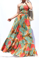 Autumn Leaf Print Maxi Dress with Halter Style Neck Tie, Cutout Back Straps and 3 Tear Mini Ruffle Hem.