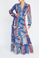 Blue and Rust Printed Maxi with Collar, Button Front, Long Sleeves, Semi Sheer Layers and Built in Slip