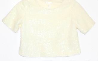 Speckeld Fur, A-line Low Crop Sweater in Winter White