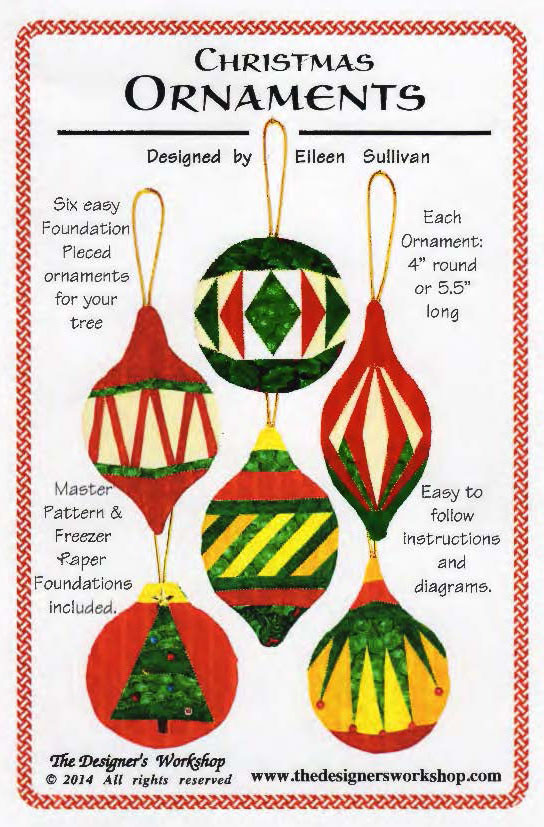 Christmas Ornaments Paper Piecing Front Cover - Christmas Ornaments - Foundation Paper Piecing Pattern - 6 Ornaments
