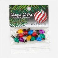 """Dress It Up - Holiday Collection - Tree Trimmers:  Description: These novelty embellishment buttons are the perfect finishing touch to apparel and craft projects. Buttons feature a 1-hole attachment. Package contains at least 15 pieces total - 1/2"""": 3-each of 5 colors. Please purchase sufficient amounts as design may vary in the package."""