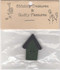 "Green Button House – A wood house shaped button – Green house, black roof – 1 1/2"" long x 1"" wide."