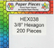 """HEX038 - 3/8"""" English Paper Piecing Hexagons"""