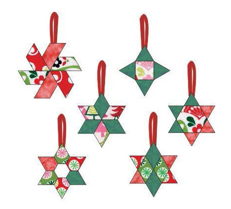 "Star Ornaments - 6 Different Pattern Pieces to make 12 Ornaments of Fun to  Hand Sew Holiday Ornaments – Approximately 3"" to 4"" -"