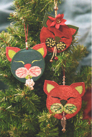 Cranberry Kitty Christmas Ornaments Hand-appliqued