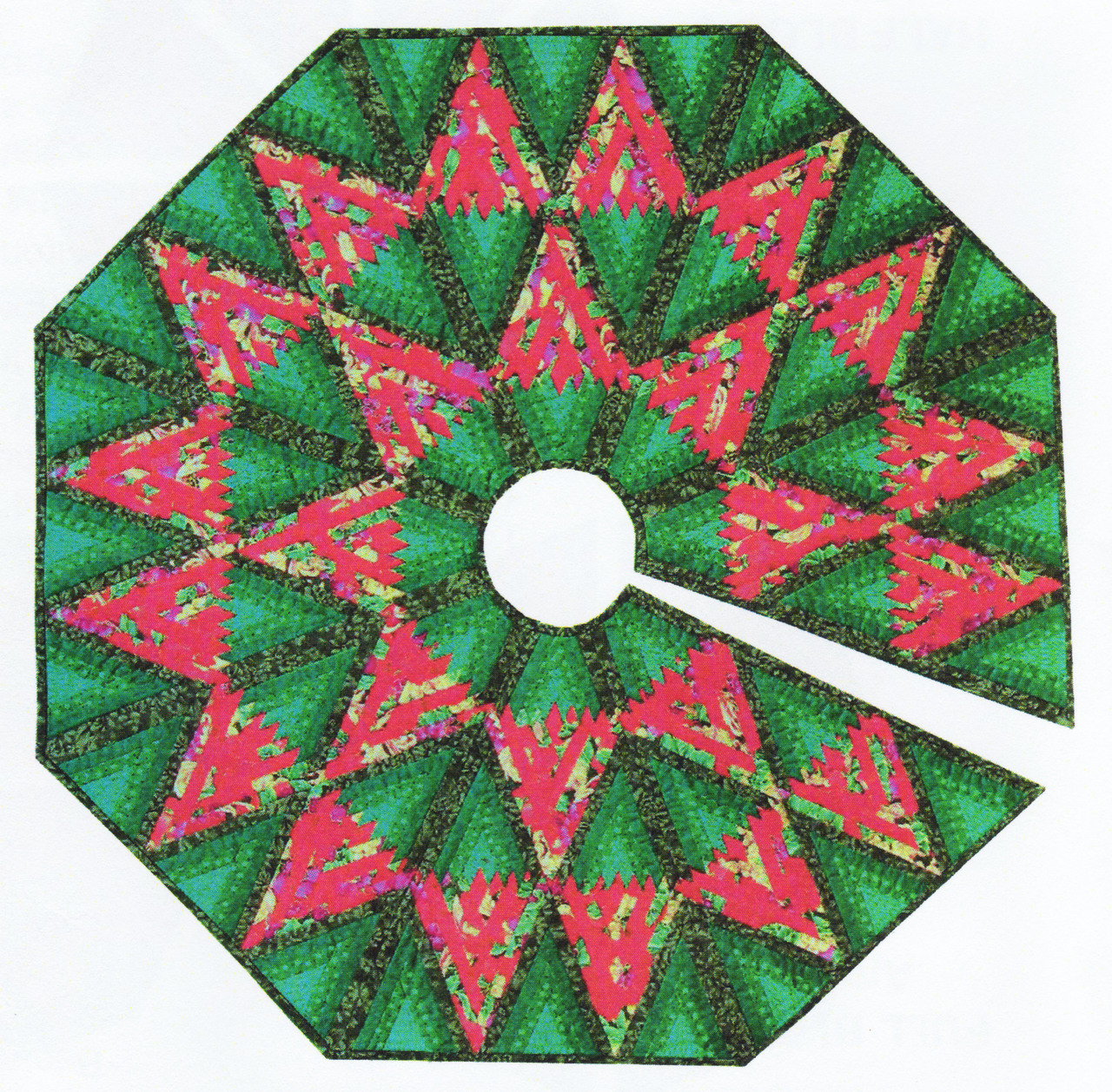 Diamond Log Cabin Tree Skirt Foundation Paper Piecing Patterns 45 1 2 X 45 1 2 Quilt Paperpiecedquilting Com