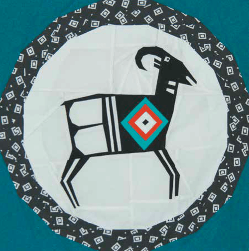 Mimbres Mountain Goat Foundation Paper Piecing Quilt Block