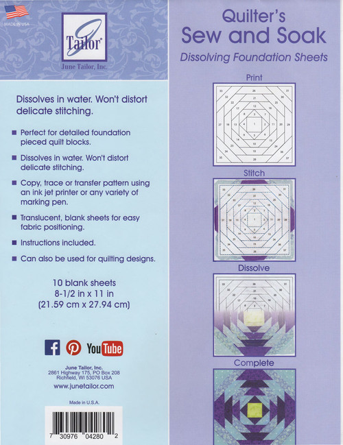 Quilter's Sew & Soak Foundation Sheets Front Cover