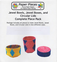 English Paper Piecing - Jewel Bowls, Jewel Boxes & Circular Lids in 9 different Sizes Each - Complete Piece Pack