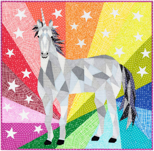 The Unicorn and Horse Abstractions - Foundation Paper Piecing Quilt - Unicorn Option